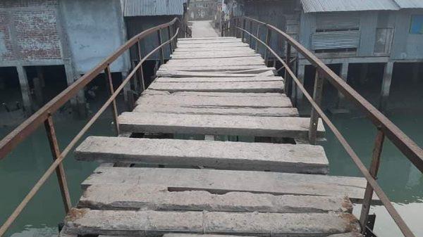 খয়রাবাদে একটি ভাঙ্গা ব্রিজে, ৬ গ্রামের ভোগান্তি